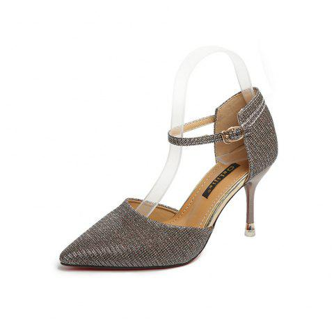 Sexy Show Thin Hollow High Heeled  Sequins Button Women's Shoes - GOLD 39