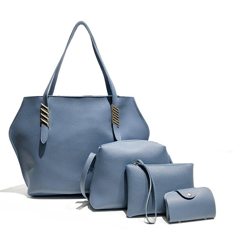 Litchi Grain Solid Color Four-Piece Shoulder Slung Handbag - DODGER BLUE