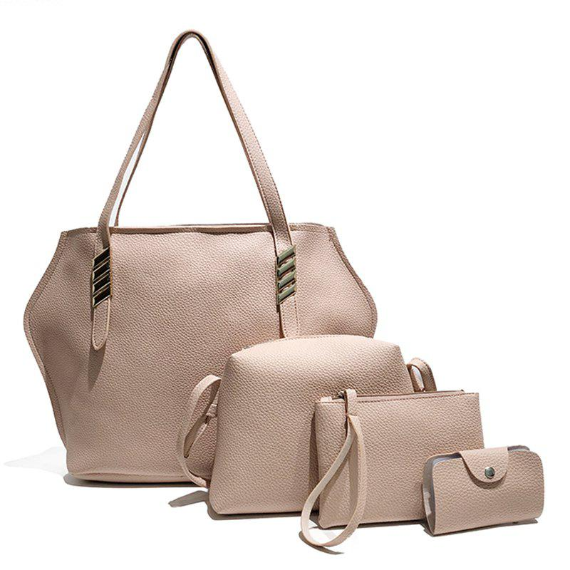 Litchi Grain Solid Color Four-Piece Shoulder Slung Handbag - LIGHT PINK