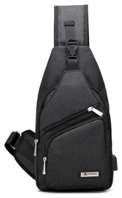 Men Chest Bag Fashion Male Shoulder Bags USB Anti-Theft Travel Packs - NIGHT