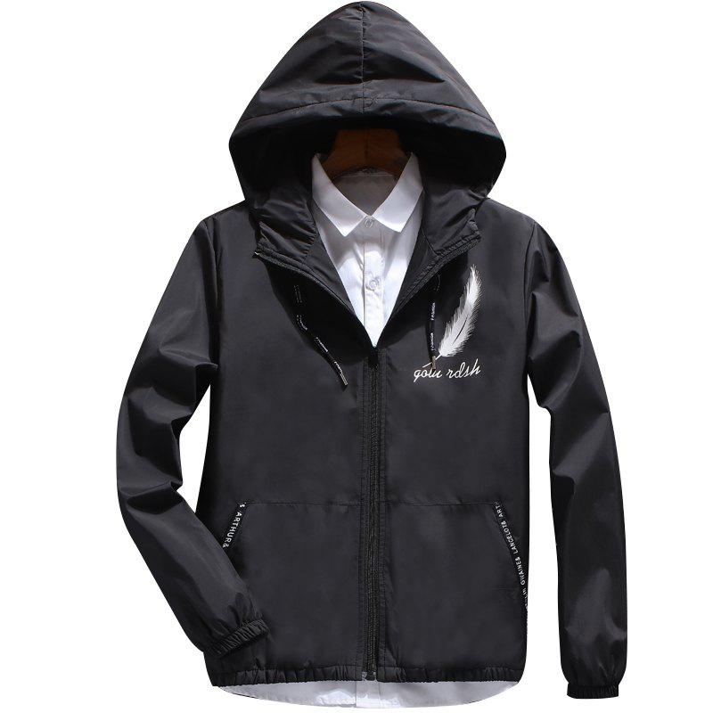Men's Fashion Japanese Feather Jacket - BLACK L