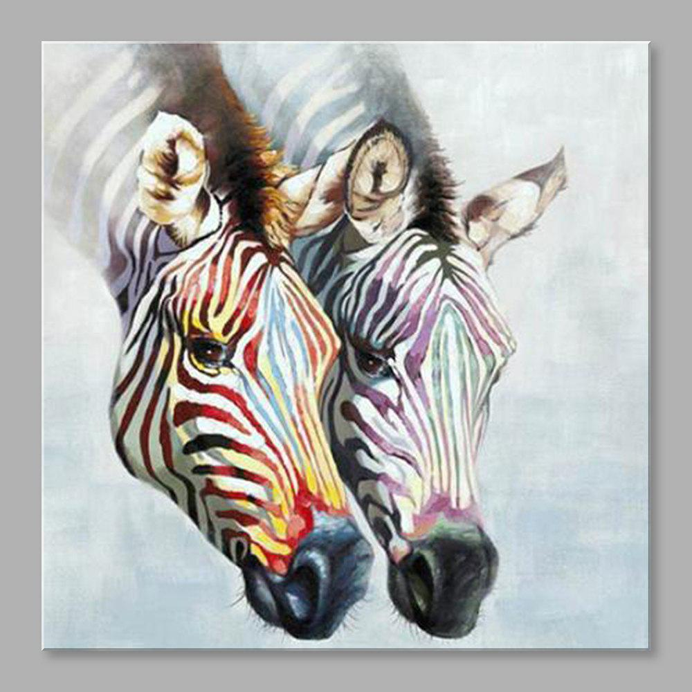STYLEDECOR Hand-Painted Two Colorful Zebra Head Canvas Oil Painting art hand painted modern abstract colorful oil painting page 8