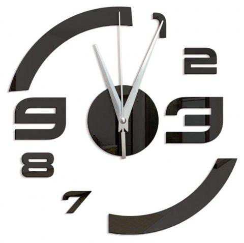 Home Decoration Stereo Mirror Wall Clock - BLACK