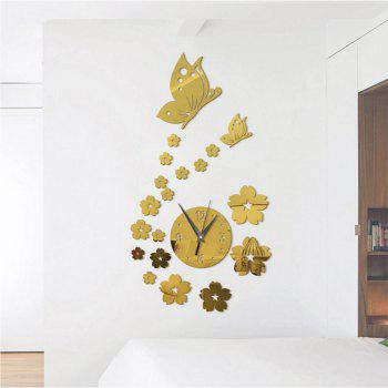 Stereo Creative Clock Background Mirror Wall Paste - GOLD
