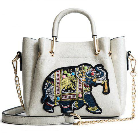 DA01669Ladies Fashion Line Embroidered Bag - WHITE