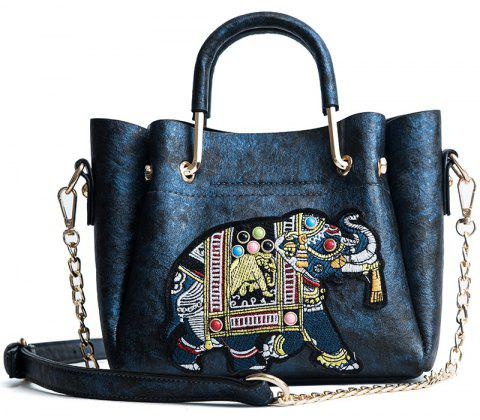 DA01669Ladies Fashion Line Embroidered Bag - BLUE