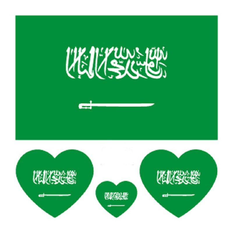 Saudi Arabian Flag Football World Cup Body Tattoo Stickers - multicolor
