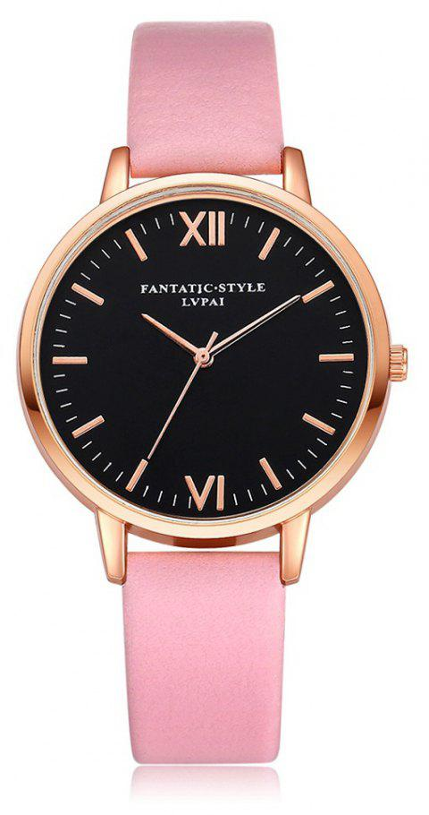 Leather Watchband Rose Gold Fashion Leisure Dress Watch - PINK