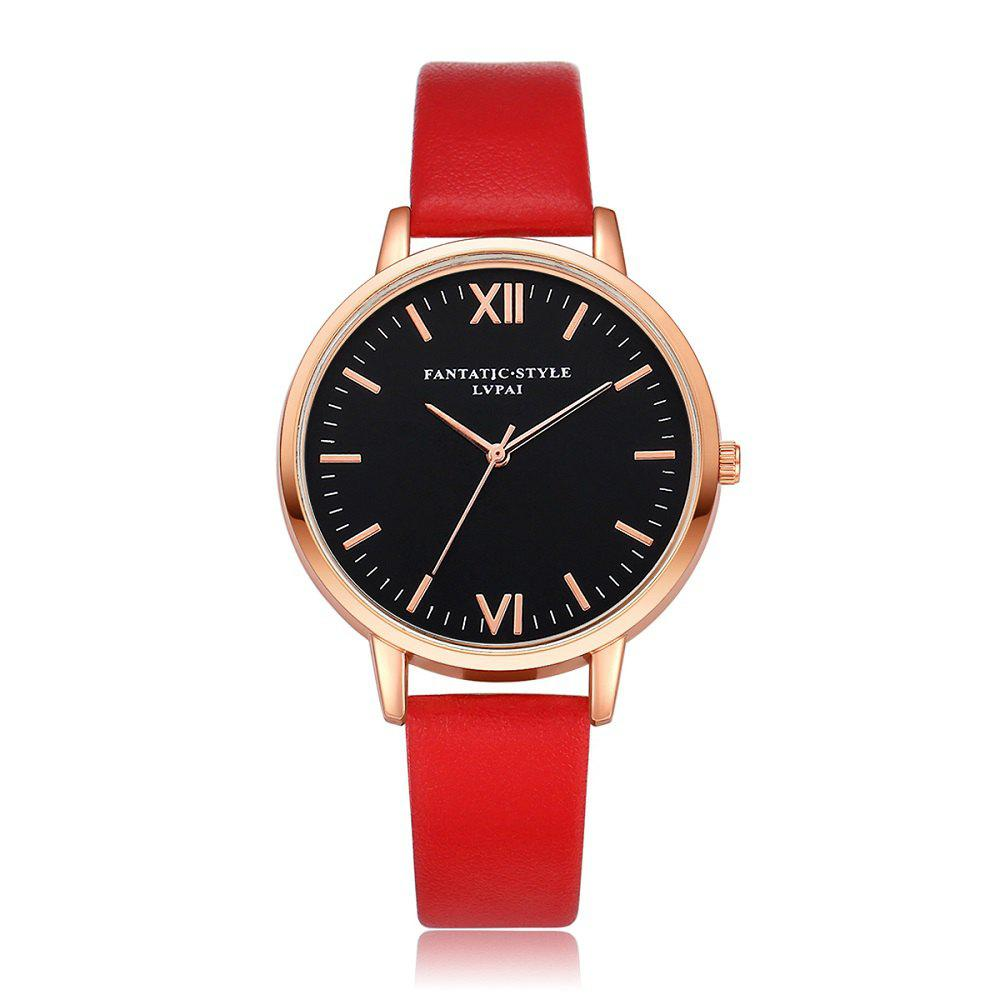 Leather Watchband Rose Gold Fashion Leisure Dress Watch - FIRE ENGINE RED