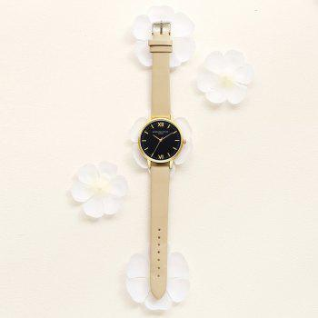 Leather Watchband Simple Black Dial Watch Ladies Casual Fashion - GRAY CLOUD