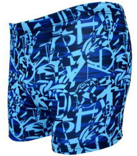 Men's Flat-Angle Printed Swimming Trunks - BLUE ONE SIZE(FIT SIZE XS TO M)