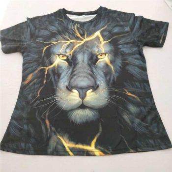 Men's 3D Digital Printed Lion-head Short Sleeve T-Shirt - BLACK M