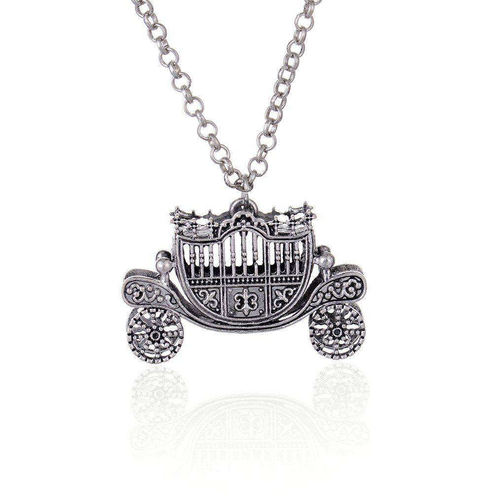 European and American Fashion Jewelry Vintage Gothic Carriage Pendant Necklace - SILVER