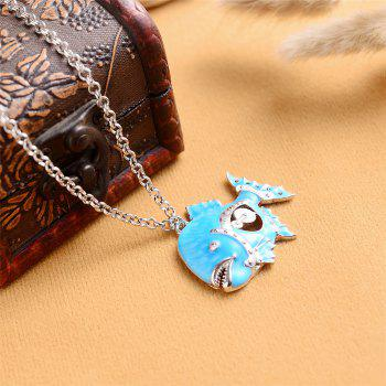 Europe and The United States Popular Three-Dimensional Drop Oil Pendant Necklace - DEEP SKY BLUE