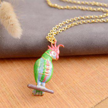 European and American Popular Creative Oil Parakeet Pendant Necklace - SPRING GREEN