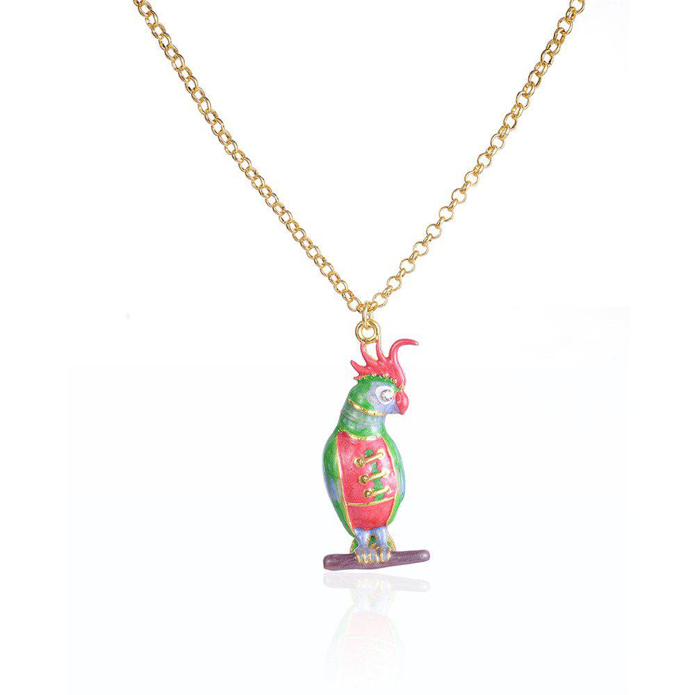 European and American Popular Creative Oil Parakeet Pendant Necklace
