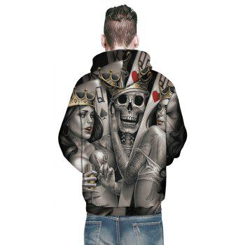 New Fashion Beauty Skull Head 3D Printing Men's Hoodie - ASH GRAY 3XL