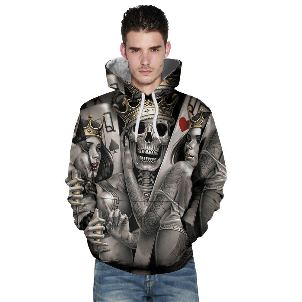 New Fashion Beauty Skull Head 3D Printing Men's Hoodie - ASH GRAY XL