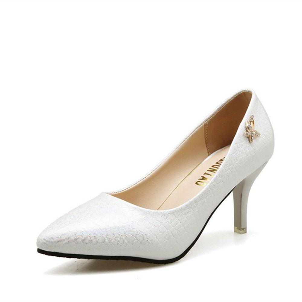 2018 New Fashion Asakuchi Pointed Stilettos All-match Fashion Shoes - WHITE 37