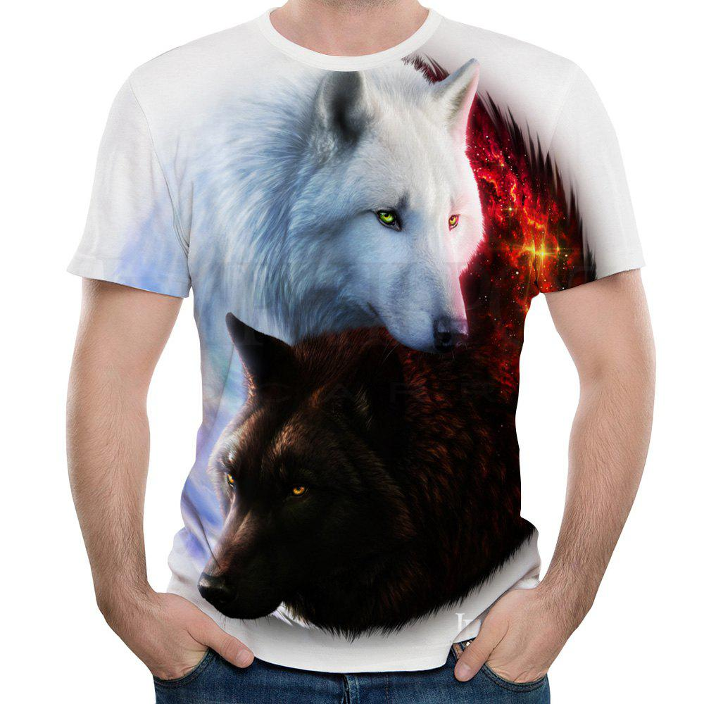 2018 New Men's 3D Printing Black and White Wolf Short-Sleeved T-shirt new lone wolf and cub v 7
