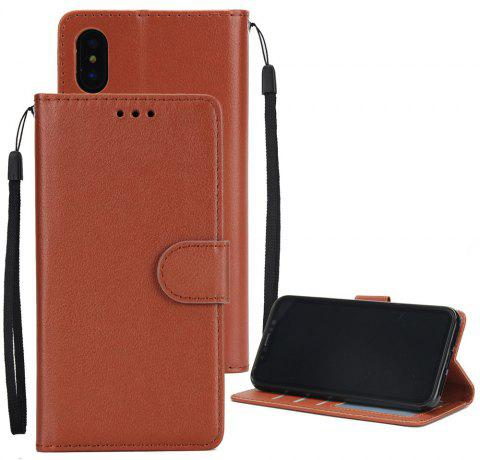 for IPhone X Wallet Case with Case Kickstand Feature Card Slots and Magnetic - RUST