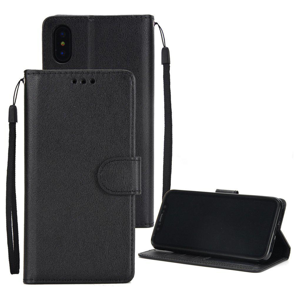 for IPhone X Wallet Case with Case Kickstand Feature Card Slots and Magnetic - BLACK