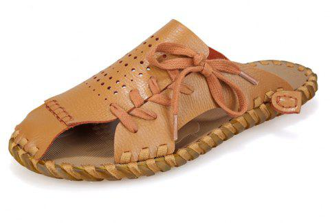 Men Summer Lazy Leisure Hole Leather Baotou Sandals - ORANGE GOLD 43