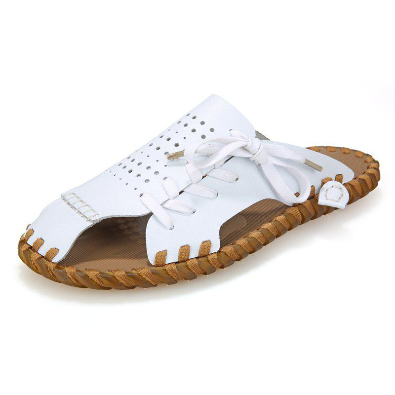 Men Summer Lazy Leisure Hole Leather Baotou Sandals - WHITE 42