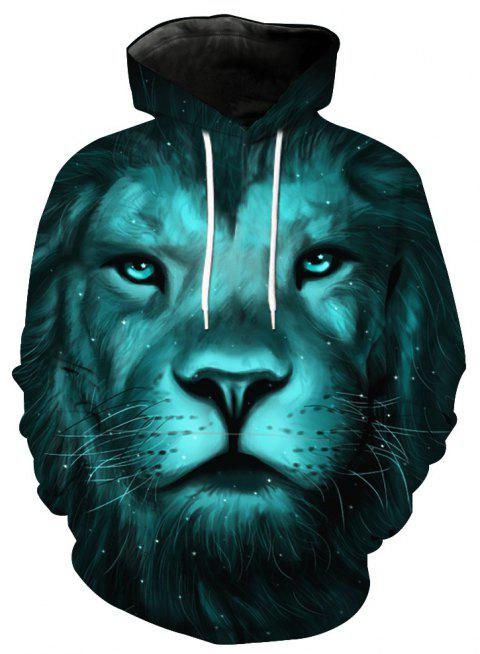 Fashion Lion Head Printed Hoodie - GREENISH BLUE 6XL