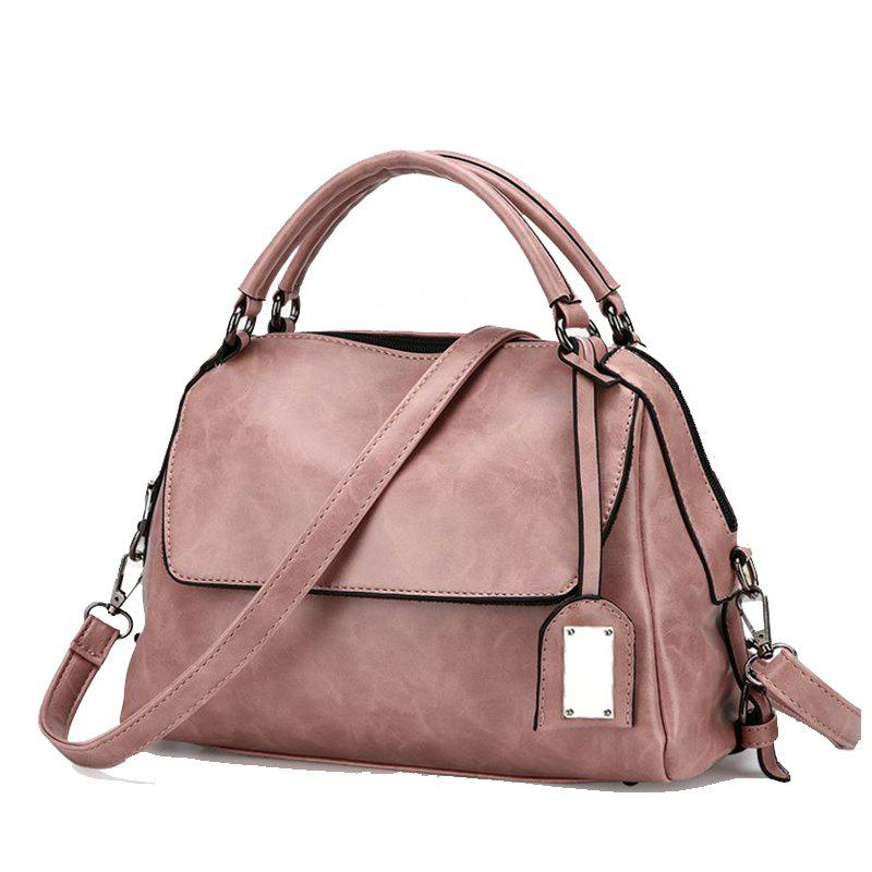 PU Leather Lady Handbag Fashion All Match Shoulder Messenger Bag - PINK DAISY