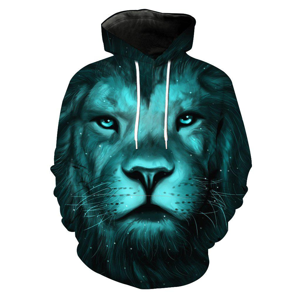 Fashion Lion Head Printed Hoodie - GREENISH BLUE M