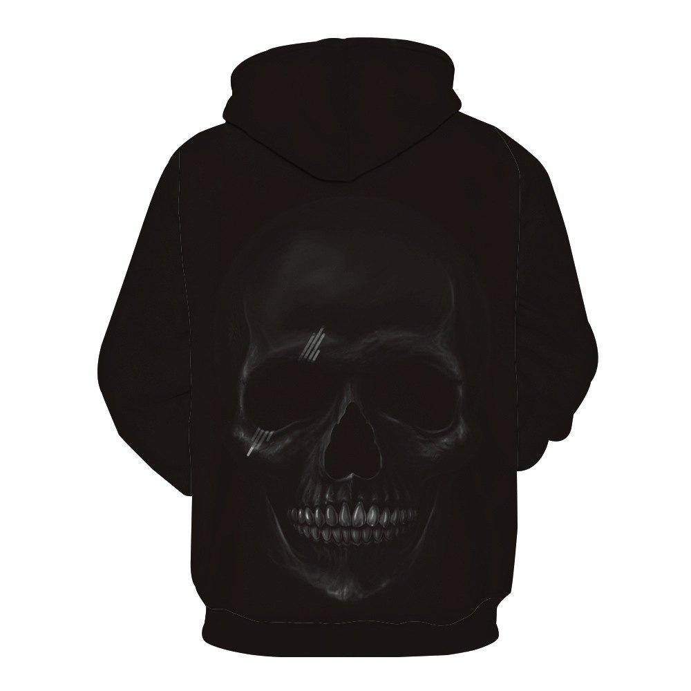 Fashion Skull Printed Hoodie - BLACK XL