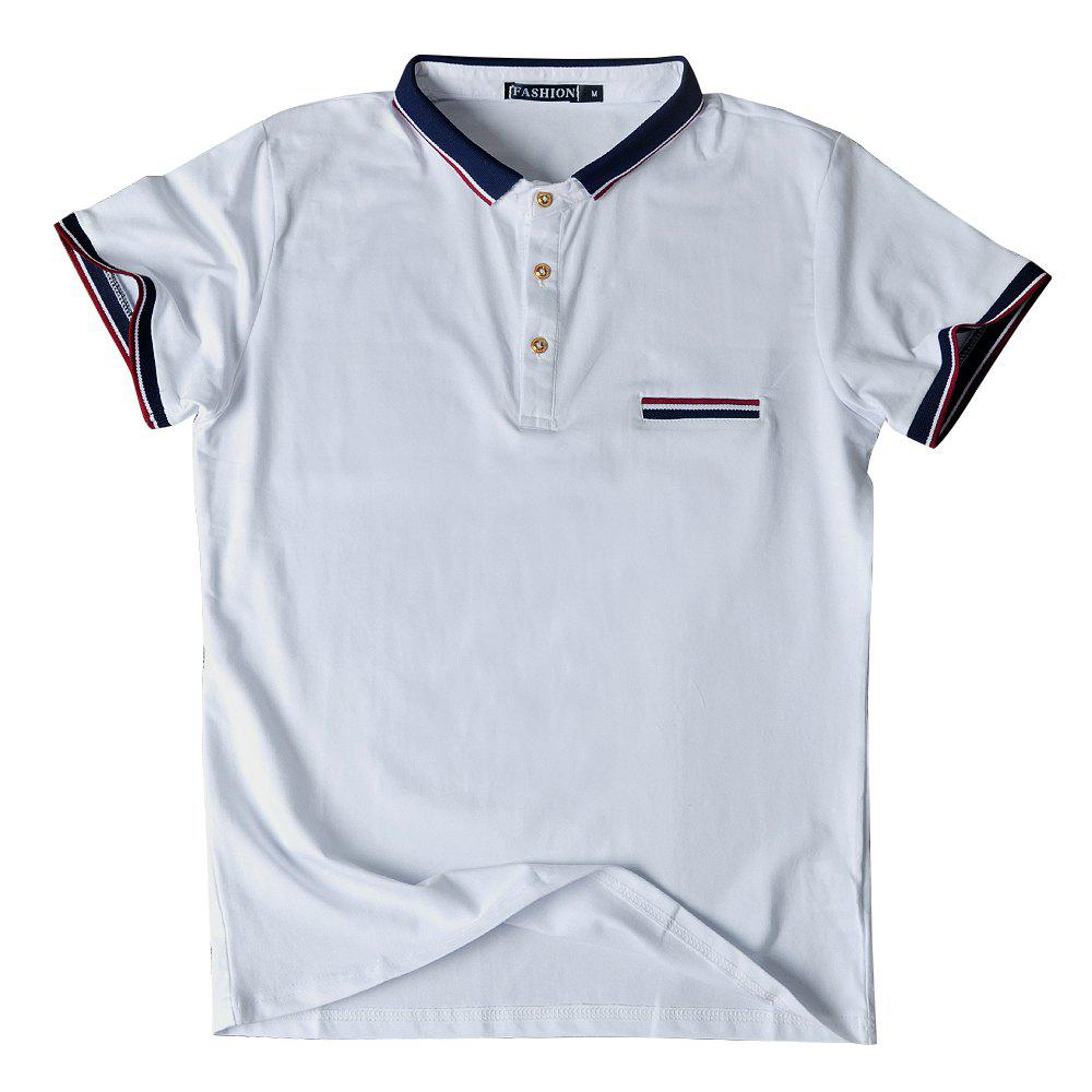 Men's Short Sleeve Lapel Polo Shirt - WHITE M