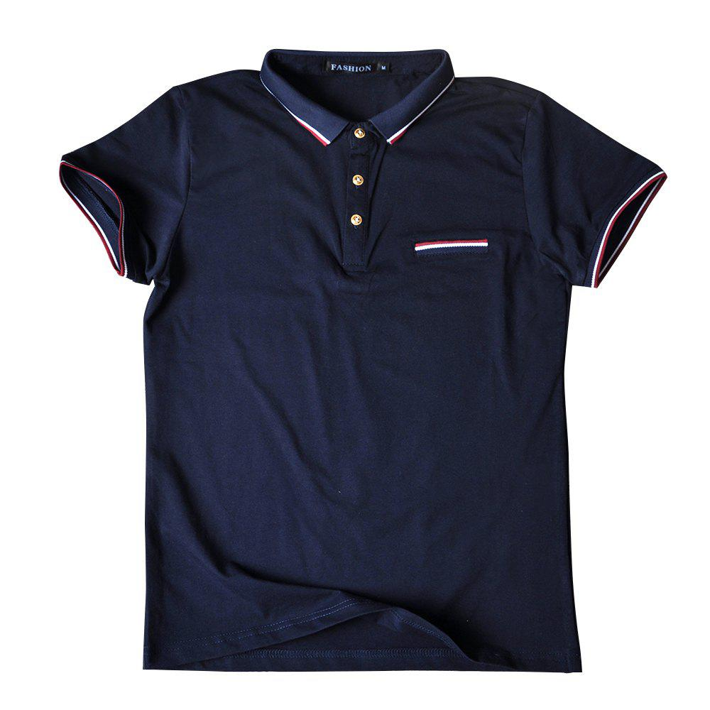 Men's Short Sleeve Lapel Polo Shirt - MIDNIGHT BLUE XL