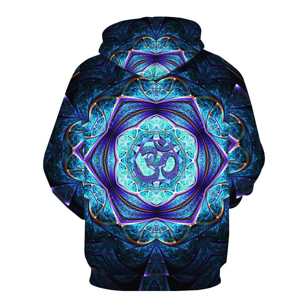 Trendy Pattern Printed Hoodie - ROYAL BLUE M
