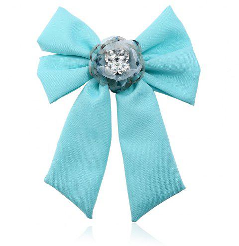 New Trendy Bow Crystal Ribbon Pins Brooches Tie - TRON BLUE