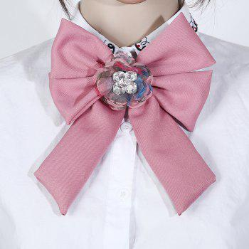 New Trendy Bow Crystal Ribbon Pins Brooches Tie - HOT PINK
