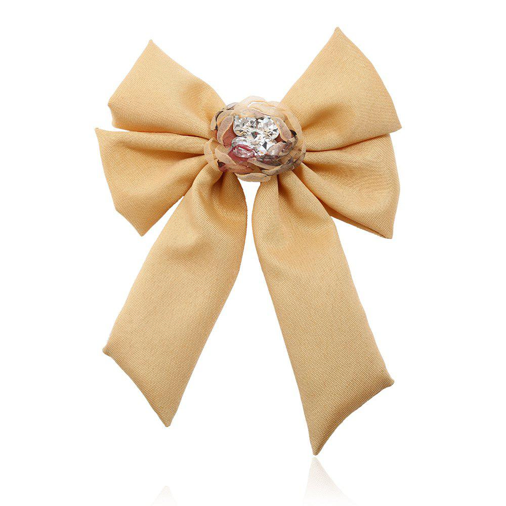 New Trendy Bow Crystal Ribbon Pins Brooches Tie - BRIGHT YELLOW
