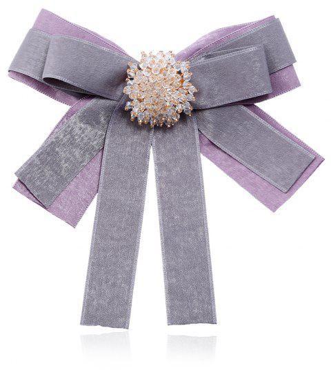 Women Elegant Plaid Fabric Ribbon Brooches Tie - LAVENDER BLUE