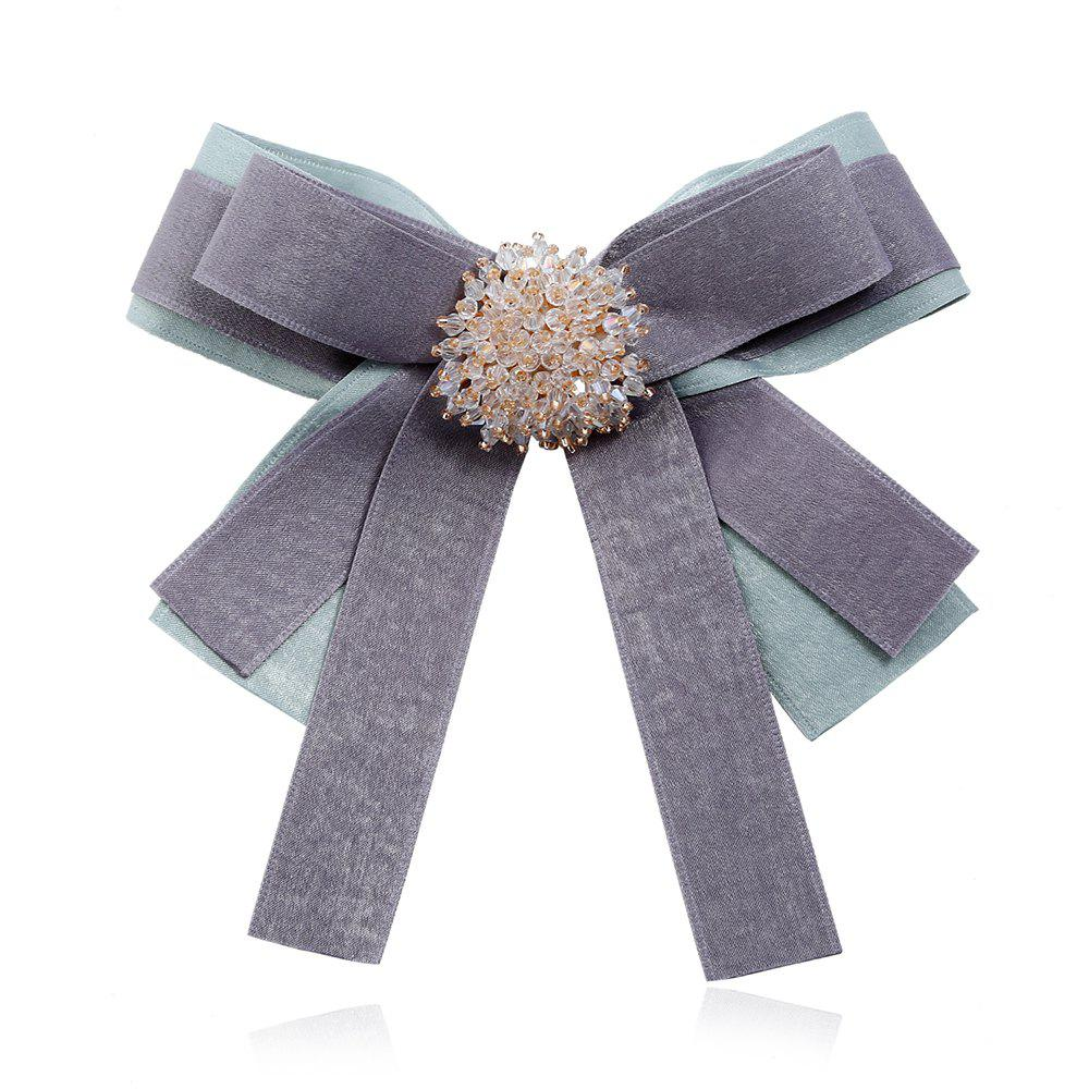 Women Elegant Plaid Fabric Ribbon Brooches Tie - CYAN OR AQUA