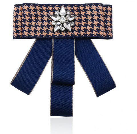 Fashion Vintage Plait Crystal Brooches for Women Rhinestone Ribbon Brooch Tie - NAVY BLUE