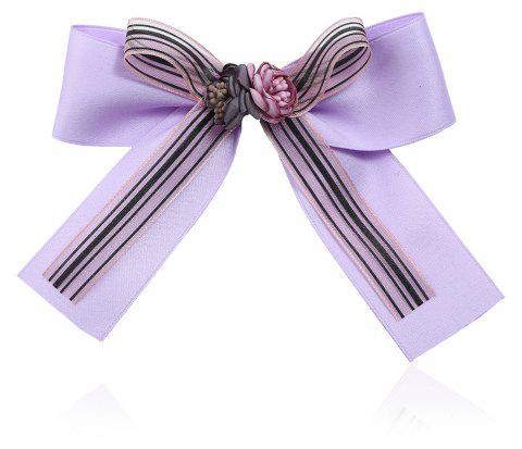Bow Ribbon Brooch for Women Pins Large Rhinestone Tie - LILAC