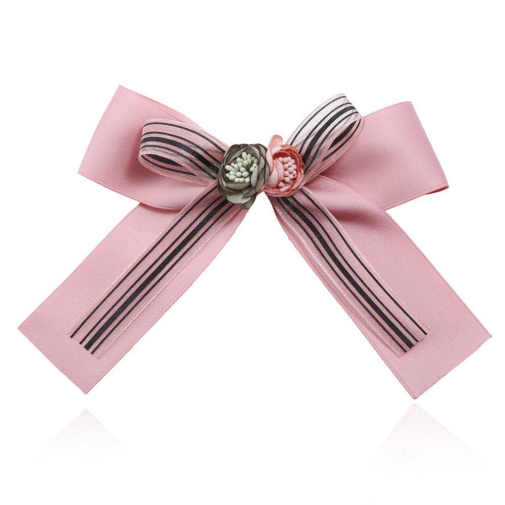 Bow Ribbon Brooch for Women Pins Large Rhinestone Tie - PINK