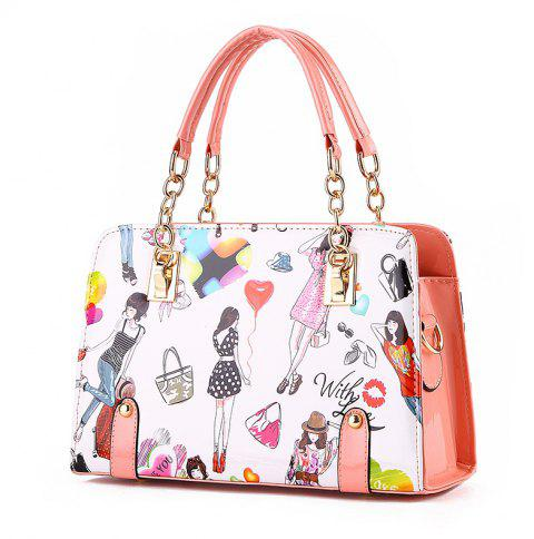 New Fashion PU Leather Colorful HandBag for Women - PINK