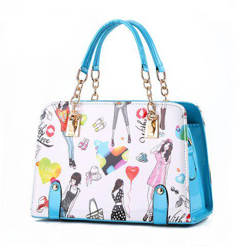 New Fashion PU Leather Colorful HandBag for Women - BABY BLUE