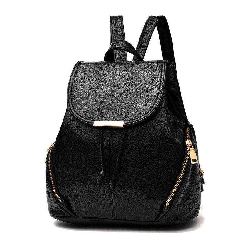 New Trend PU Leather Backpack for Women - BLACK