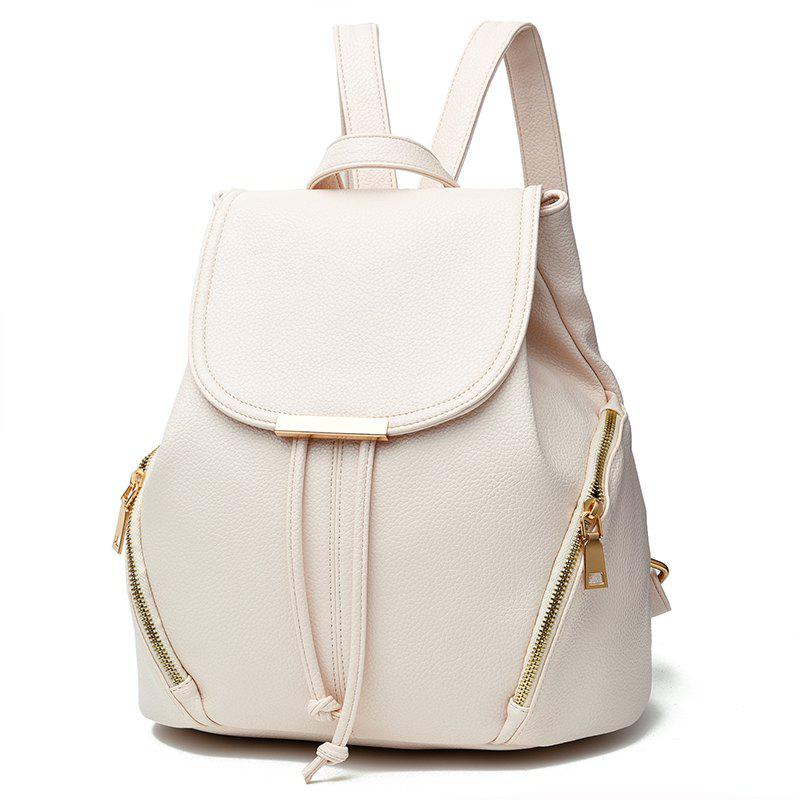 New Trend PU Leather Backpack for Women - WHITE