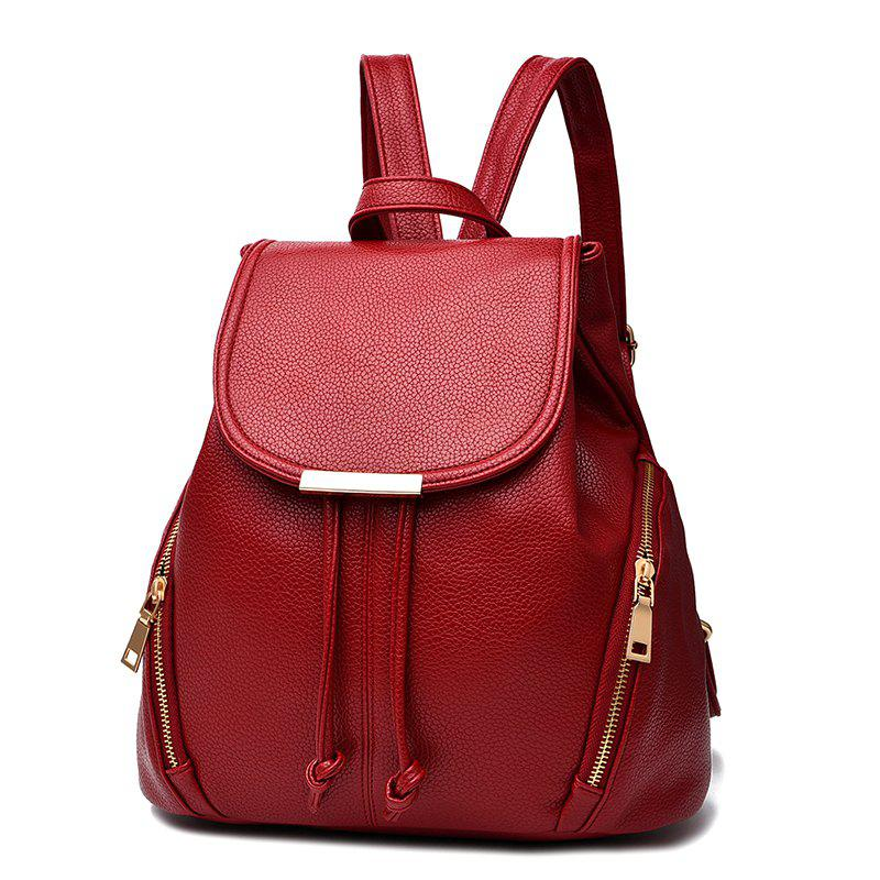 New Trend PU Leather Backpack for Women - RED WINE