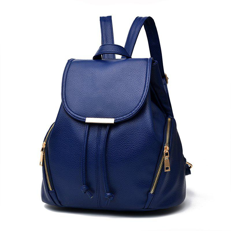 New Trend PU Leather Backpack for Women - MIDNIGHT BLUE