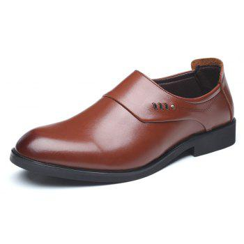 ZEACAVA Men Microfiber Leather Slip On Business Casual Shoes - CAMEL BROWN 42